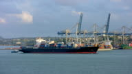 Container Ship Entering Port video