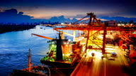 Container ship in the harbor in Asia , video