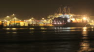 container terminal - harbour loading at night video