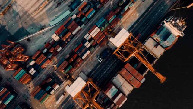 Containers and Cargo Ships in Port video