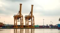 Containers at Bangkok commercial port video