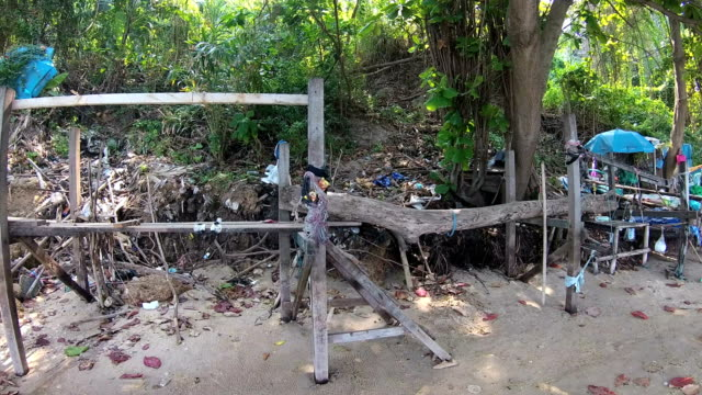 Contamination of tropical beach. Piles of garbage waste environmental disaster. Action camera video