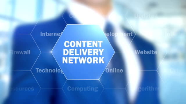 Content Delivery Network, Man Working on Holographic Interface, Visual Screen video