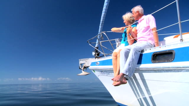 Contented Retired Couple Aboard their Yacht video