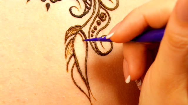 Continue of drawing process of henna mehendi ornament on back video