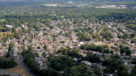 AERIAL: Continuous sprawling of beautiful rich suburban town of New York City video
