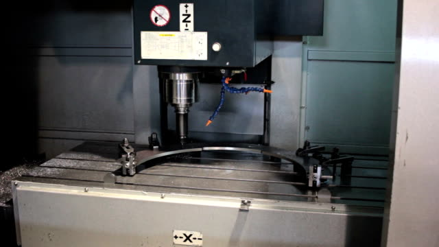 Control Panel CNC.  Machine milling, drilling  steel part. Panoramic video