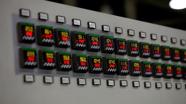 Control panel in the factory, close-up video