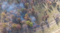 Controlled Burn, fire and smoke in the woods seen from the air video