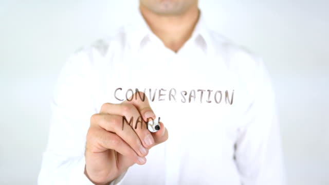 Conversation Marketing, Man Writing on Glass video