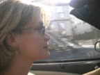 Convertible Woman in Sunlight: Beautiful Blonde Driving Open-Topped Car video