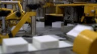 Conveyor full of milk products at daity factory video