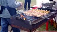 Cook grilling meat, vegetables on charcoal, street vendor selling food, festival video