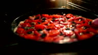 Cook Pulls A Pizza Out Of The Oven. video
