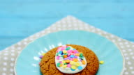 Cookie with various confectioneries in plate video