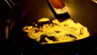 Cooking Carbonara sauce on pan video