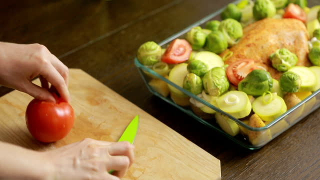 Cooking chicken with vegetables in a glass video
