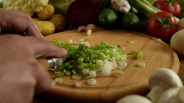 Cooking. Cutting onions video