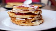 Cooking Delicious Stack of Pancakes for Breakfast. Speed up video