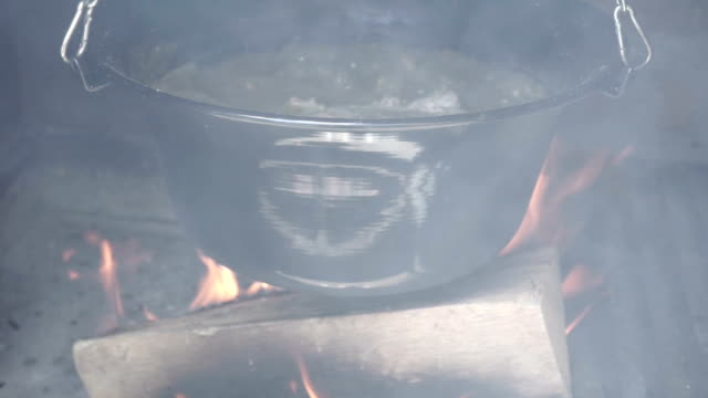 Cooking in a cauldron video