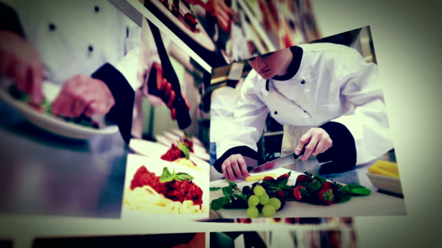 Cooking in commercial kitchen animation montage video