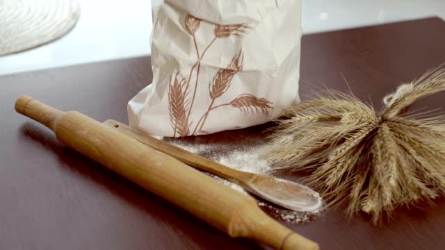 Cooking ingredients. Home baking ingredients. Wheat sheaf. Organic flour bag video