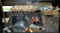 Cooking of pork shashlik on skewers on the grill video