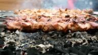 Cooking of pork skewers on metal skewers on coals video