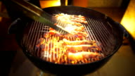 Cooking Skewers of Fish on the Grill by night video