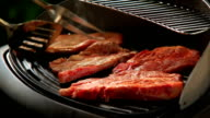 Cooking steak on the grill. video