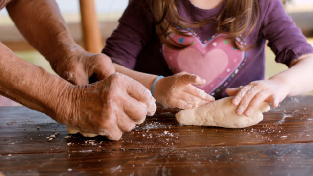 Cooking With Grandma-Beautiful Little Girl Learns How To Make Cookies  in The Bright-lit Vintage Kitchen video