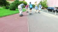 Cool happy skateboarders having fun video