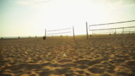 Cool shot Volleyball nets at beach during sunset video