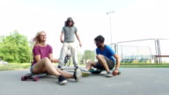 Cool young skateboarders chilling video