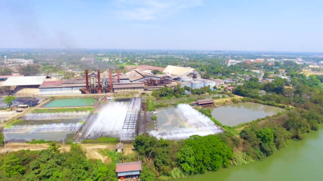 Cooling system and Water treatment plants. Industrial Landscape. Sugar Factory, Aerial view video