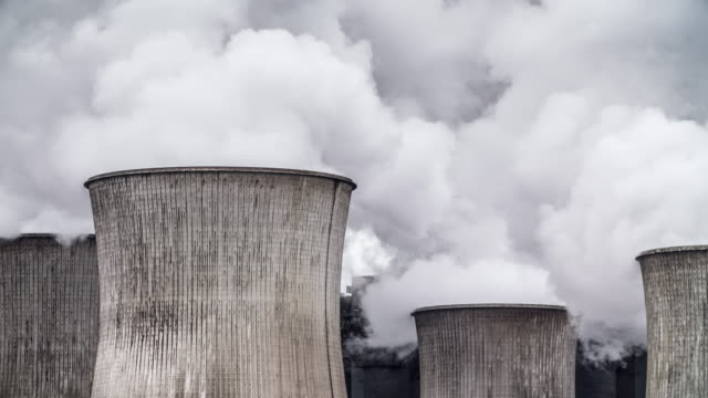 Cooling tower of a coal fired power station video