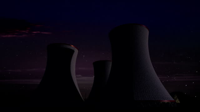 Cooling tower of nuclear power plant, thermal power plant, night view image. video