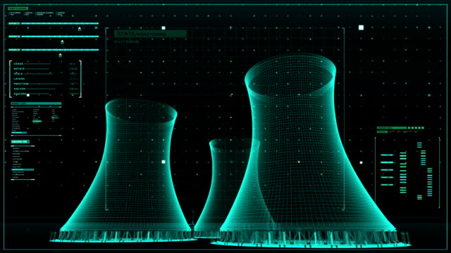 Cooling tower of nuclear power plant, thermal power plant, x-ray view image. video