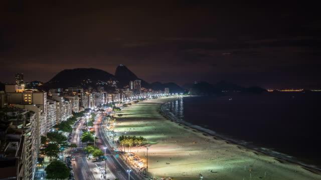 Copacabana Beach at night in Rio De Janeiro, Brazil video