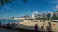 Copacabana Beach full of people in Rio de Janeiro, Brazil. video