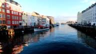 Copenhagen canal at dusk video