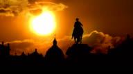 Copenhagen Denmark Amalienborg Palace and orange sunset video
