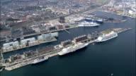 Copenhagen - Docks  - Aerial View - Capital Region, Copenhagen municipality, Denmark video