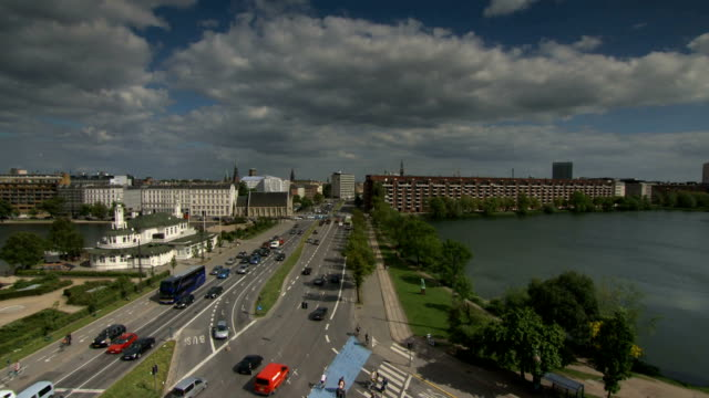 Copenhagen lakes time lapse pan video