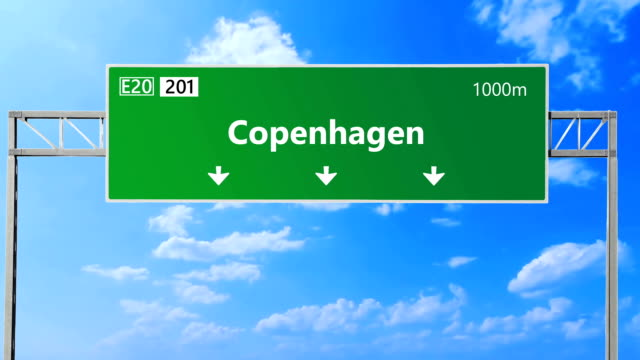 Copenhagen road and highway sign. video