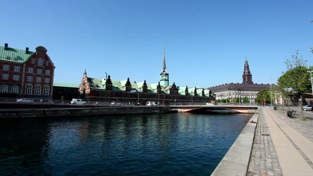 Copenhagen Skyline with Stock Exchange video