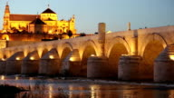 Cordoba, Spain cityscape at the Roman Bridge and Mosque-Cathedral. video