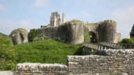 Corfe Castle Dorset England uk front view of ruins video