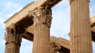Corinthian capitals and architraves, details of Olympian Zeus Temple in Athens video