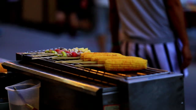Corn and Kebab barbecue grill. video